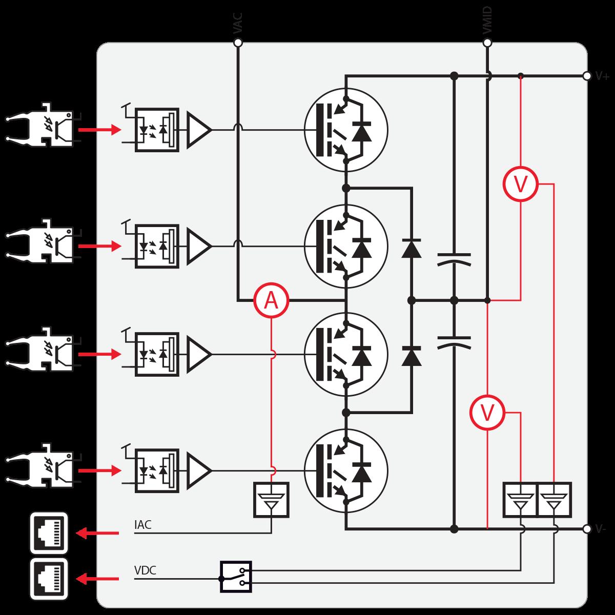 Electrical schematic of the PEN8018 NPC converter module.
