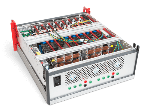 Inside view of a inverter enclosure for rack mounting.